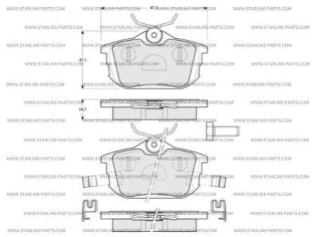 Комплект тормозных колодок, дисковый тормоз STARLINE BD S194, STARLINE, BD S194