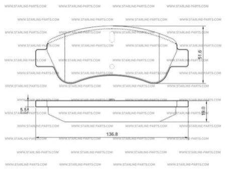 Комплект тормозных колодок, дисковый тормоз STARLINE BD S238