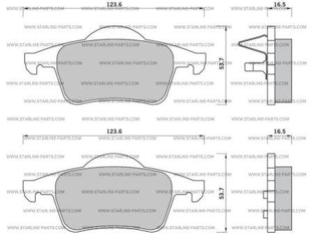 Комплект тормозных колодок, дисковый тормоз STARLINE BD S372, STARLINE, BD S372