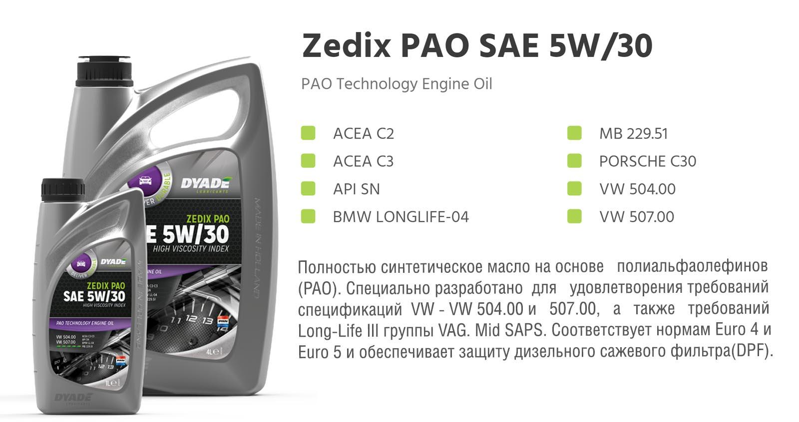 Масло моторное Zedix PAO SAE 5W30 (1L)