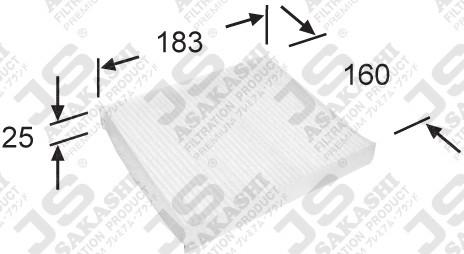 Фильтр салона (183/160/25) JS ASAKASHI AC9404