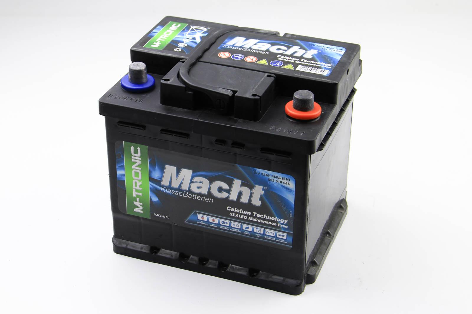 Аккумулятор Macht M-tronic 52Ah/450A 207x175x190